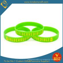 Bracelete verde impresso relativo à promoção feito sob encomenda do silicone (LN-020)