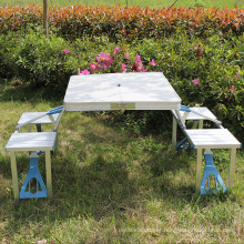 Folding Table with 4 Folding chairs Height Adjustable Aluminum Camping with Parasol Hole