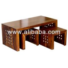 Conjunto de mesa de café de madeira maciça de 3