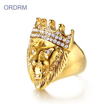 Barang Kemas Elegant Borong Out Crystal Gold Lion Ring