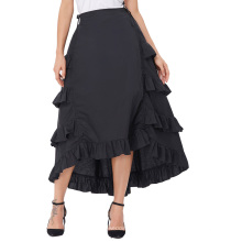 Belle Poque retro vintage gótico mujer traje de algodón negro alta falda baja BP000222-1