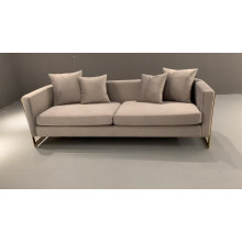 Leixure European Style Three Seats Sofa with Gold Stainless Steel Frame Hotel Lobby Couch
