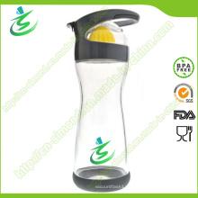 20 oz botella de agua de vidrio con exprimidor de limón