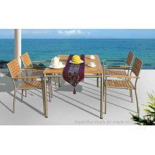 Patio de jardín al aire libre Mesa de comedor Silla de restaurante Juego de muebles Fsc Madera de teca # 304 Acero inoxidable