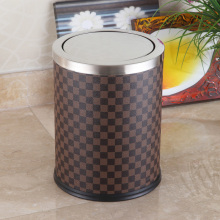 Round Stainless Steel Grid Design 12L Swing Dust Bin (F-12LE)