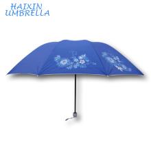 Colores brillantes Silver Colloid de calidad superior plegable sol barato Impreso flor Impreso paraguas de la promoción para las mujeres