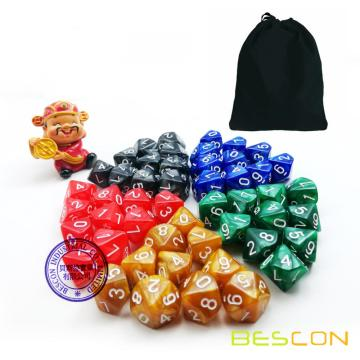 50pcs Assorted Different Colors D10 Pack, 5X10pcs 10 Sides Dice Marble Polyhedral Dice D10 Set