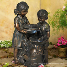 grand garden outdoor sculture metal craft bronze boy and girl fountain
