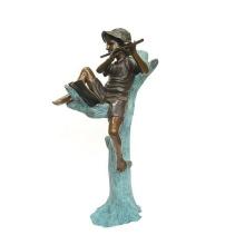 decoración del jardín al aire libre metal artesanía niño tocando flauta estatua de bronce