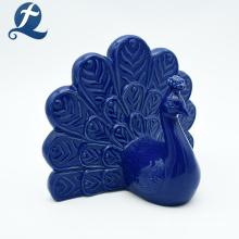 Decoração para casa cerâmica pavão estatueta artesanato