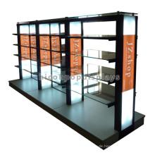 Langlebige, freistehende Metall-Glas-Doppelseiten-Kleidungs-Befestigungen Handels-Einzelverkauf-Kleidungs-Zahnstange
