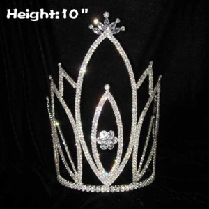10in Height Large Tall Crystal Pageant Crowns