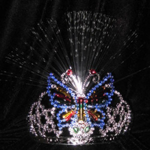 Children Butterfly Shaped Light Up Plastic Crowns