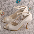 Amazon Gading Peep Toe Shoes Bride Pumps dengan Ankle Strap