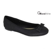 Women′s Black PU with Bow Flat Ballet Shoes