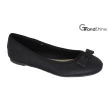 Mulheres PU preto com Bow Flat Ballet Shoes