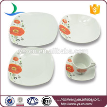 Ceramic material white dinner plates set with poppy printing