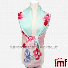 2014 Senhora Elegante Floral Mão Desenho Wool Shawl Scarf