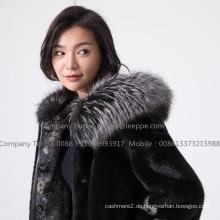 Nerz Pelz Frauen Reversible Damen Mantel