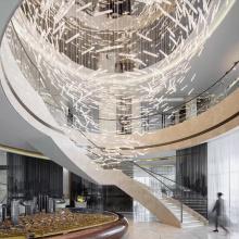 Big Hotel Modern Lobby Art Glass Chandelier