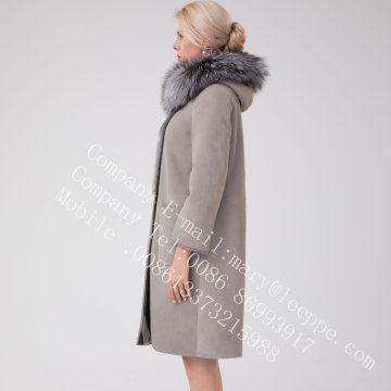 Hooded Spain Merino Winter Shearling Coat för kvinnor