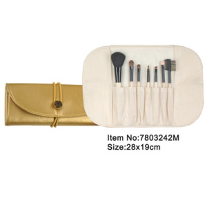 7pcs portable white handle cosmetic brush with golden satin case