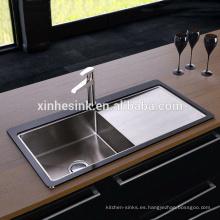 Fregadero de cocina de acero inoxidable de alta calidad de vidrio templado para el Reino Unido