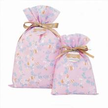 Sacos de presente de Páscoa não tecido rosa com etiquetas