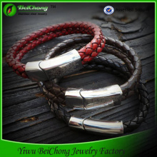 men's jewelry stainless steel chain black leather bracelet
