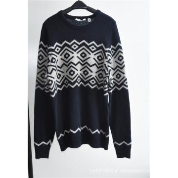 Lã mistura rodada pescoço homens tricô pullover
