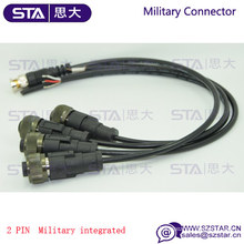 IP67 IP68 Shield MIL-C-5015 2pin connector to BNC pigtail cable