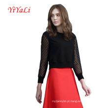 Camisa de vestido preta das Alto-Cintura das mulheres para a roupa da senhora de Youny OEM / ODM