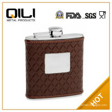 FDA 6oz Brown Leather Hip Flask with Quilted Pattern