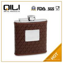 FDA 6 унций коричневый кожаный фляга с стеганый узор