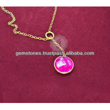Designer Vermeil Pink Chalcedony Gemstone Long Chain Necklace For Women