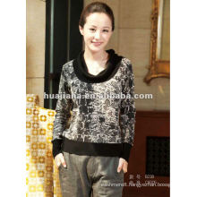 Stylish printing women's cashmere sweater