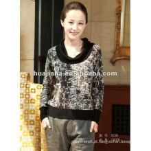 Suéter de caxemira feminino de impressão elegante
