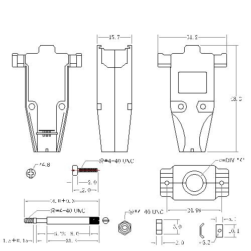 DBZU-09XX2 1 D-SUB METAL HOODS,09P, U TYPE,LONG SCREW