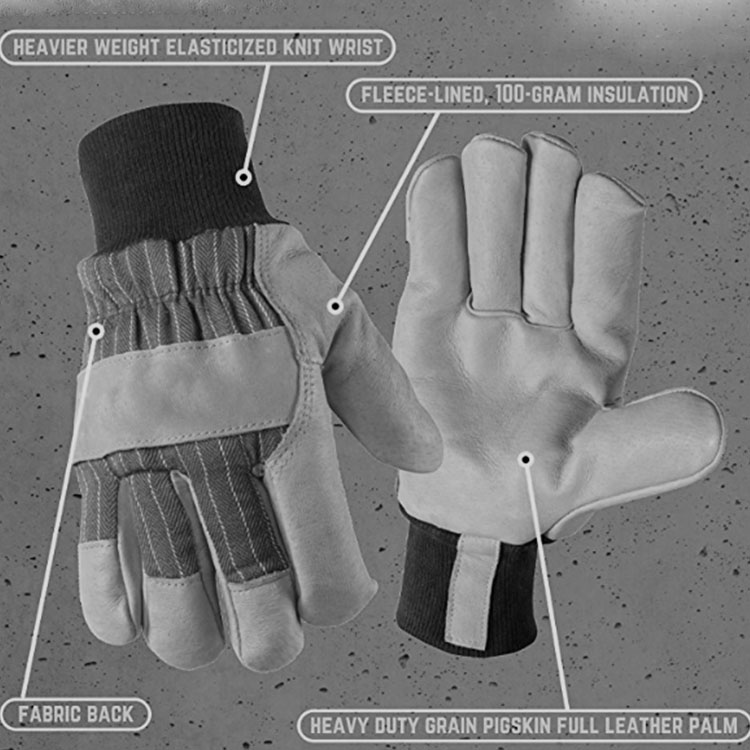 reinforced pale leather gloves