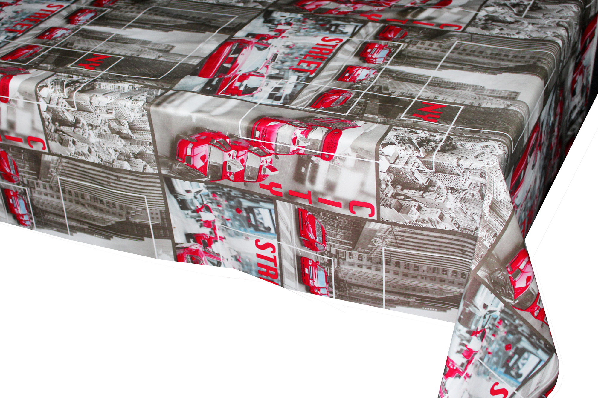 City style Printed Tablecloth With Non Woven Backing