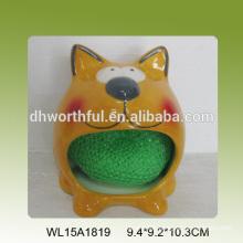 Ceramic sponge holder in cute cat shape