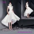 Впечатляет высокий воротник Cap рукава свадебное платье с клеш Длина юбка чай