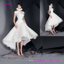 Impressionante vestido de noiva de mangas de alta decote com saia de chá de flare