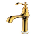 Gold single hole and lever vintage basin faucet