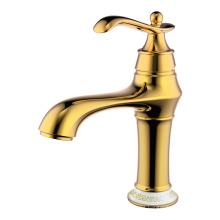Grifo de lavabo vintage de palanca y un orificio dorado