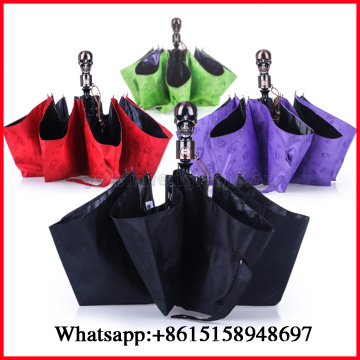 Three Folding Umbrellas Automatic Foldable Umbrella Creative Men Women UV Sunglasses Skull Handle Men Rain Umbrella Parasol Umbr