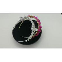 Atacado feito à mão prata cristal pérola pulseiras de cabelo de casamento para cabeça de noiva