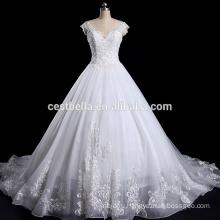 V-Образным Вырезом Свадьба Cap Рукавом Платье Плюс Размер Свадебное Платье