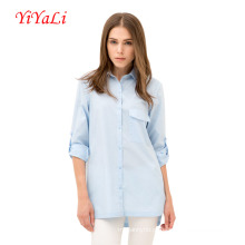 Primavera de algodão mulheres camisa de manga comprida