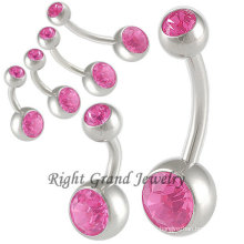316L Steel Pink Rhinestone Belly Bar Navel Ring